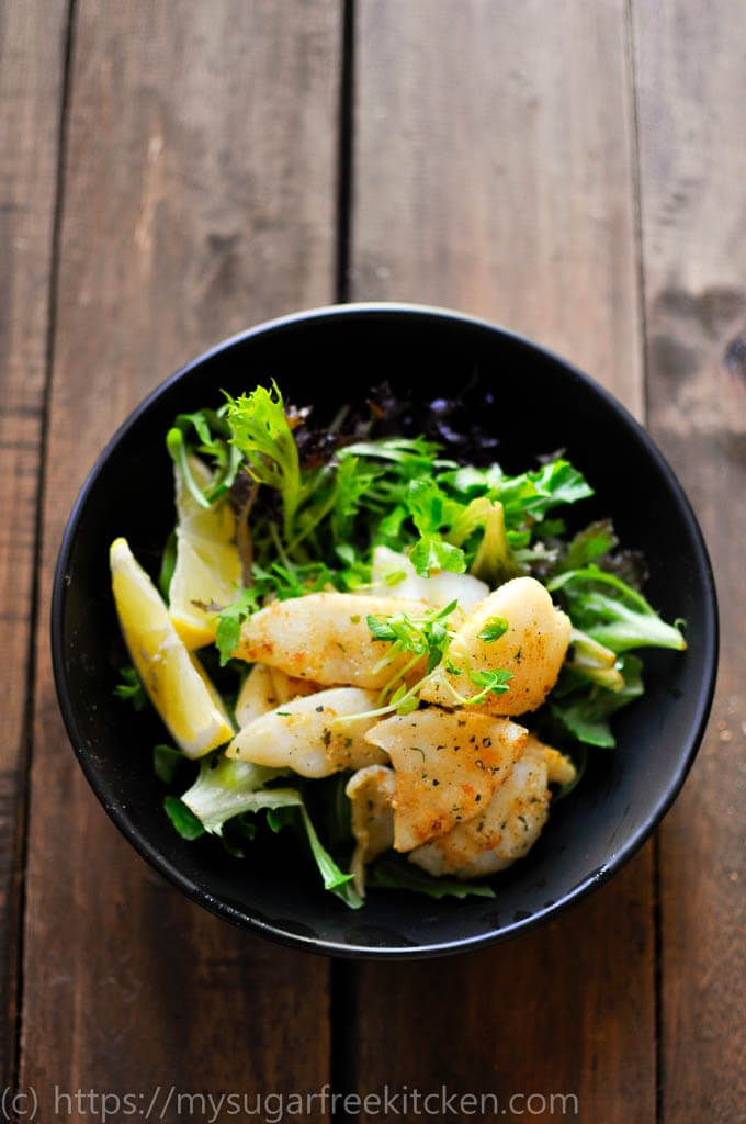 This healthy and light salt and pepper squid salad is the perfect easy weeknight summer meal. Soft, frangrant and completely grease free!
