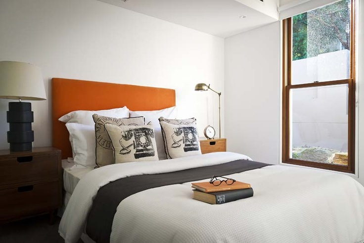 Advantage Property Styling, Bedroom, Styling, Orange, Headboard, Bedhead, Cushions, Pillows, Throw, Glasses, Books, Bedsides, Lamps, Task Light, Telephone, Texture