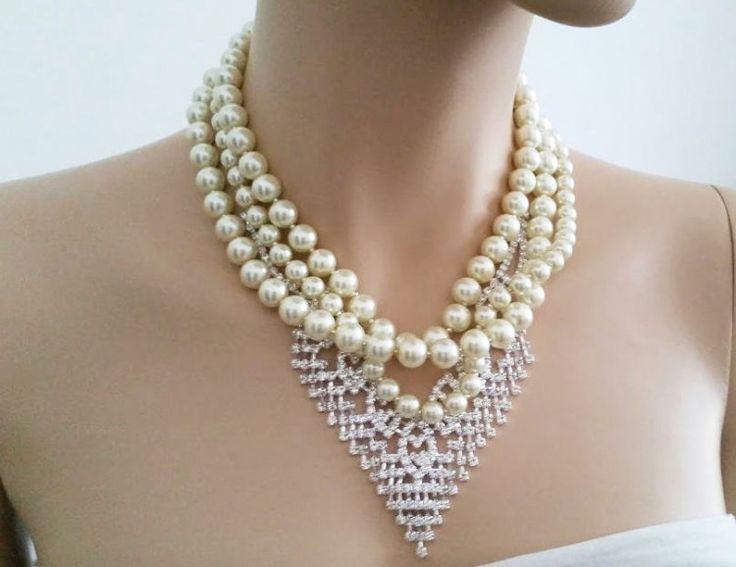 Vintage Style Wedding Jewelry, Statement Wedding Necklace, Pearl Rhinestone Art Deco Necklace, Bridal Necklace Wedding Bib Necklace, GATSBY by SukranKirtisJewelry
