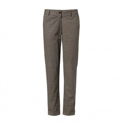 Pantaloni morbidi nel punto vita e coscia, stretti in fondo, realizzati in cotone stampato