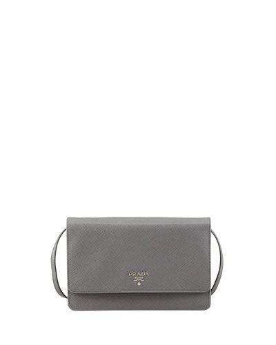 Prada Saffiano Wallet Crossbody - Marmo Gray NMF15_V1QND