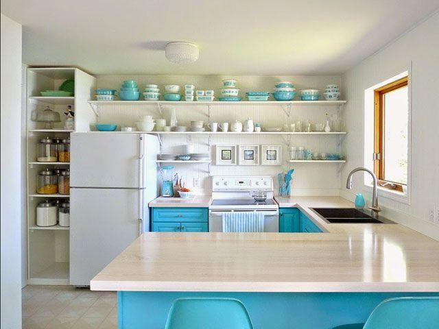 Hometalk Turquoise Kitchen Makeover - Colorful Kitchen Renovation - ELLE DECOR