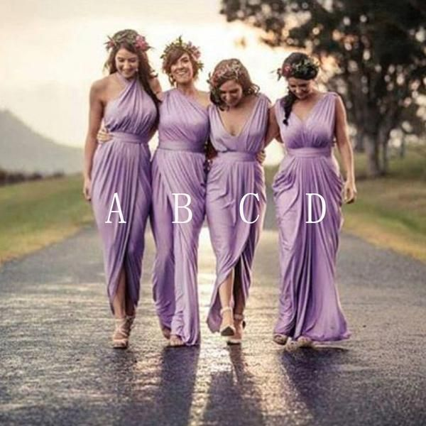 Cool Charming Mismatched Pleating Different Styles Lilac Floor Length Cheap Wedding Guest Dresses WG