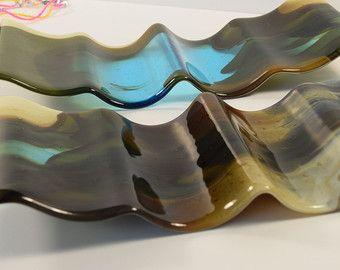 Hedendaagse gesmolten glas wijn Rack - moderne fles opslag - gesmolten glas kunst - unieke wijn gift - wijnliefhebber gift - functionele kunst