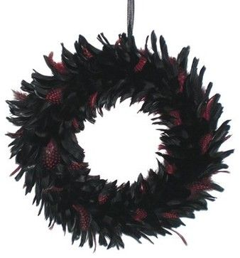 Feather Wreath - Black/Red - eclectic - holiday decorations - Target