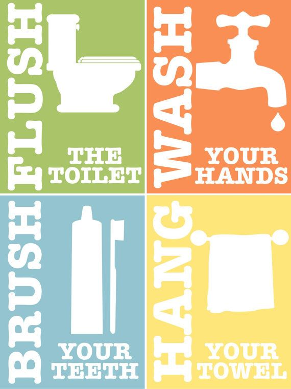 Kids bathroom rules set of 4 printable art by for Rules of good bathroom design
