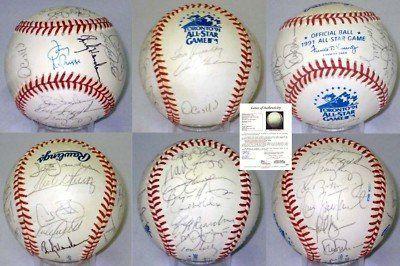 1991 AL All Stars Team Signed Baseball 26 AUTOS JSA LOA Ripken Clemens Alomar ++ . $500.00. 1991 AMERICAN LEAGUE ALL STARS TEAM SIGNED OFFICIAL 1991 ALL STAR GAME BASEBALL. BASEBALL IS SIGNED BY 26 PLAYERS INCLUDING: TONY LaRUSSA (MANAGER), TOM REYNOLDS (COACH), OREL HERSHISER, RUBEN SIERRA, ROBERTO ALOMAR, OZZIE GUILLEN, ROGER CLEMENS, WADE BOGGS, DENNIS ECKERSLEY, BRYAN HARVEY, PAUL MOLITOR, JEFF REARDON, MARK LANGSTON, TOM KELLY (COACH), SCOTT SANDERSON, SANDY ALOMAR...