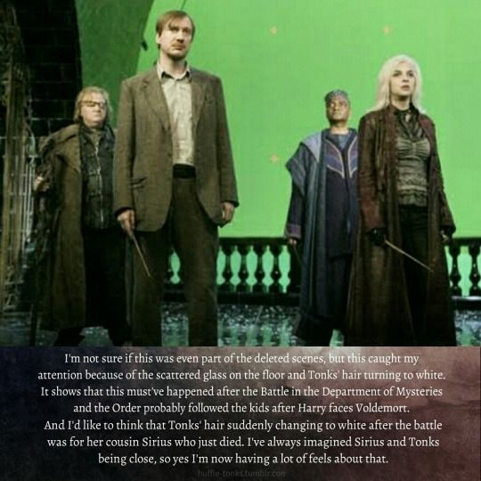 Behind-the-scene photo This could've been the first and only scene in the movie where Remus and Tonks could've appeared together which apparently was cut too.