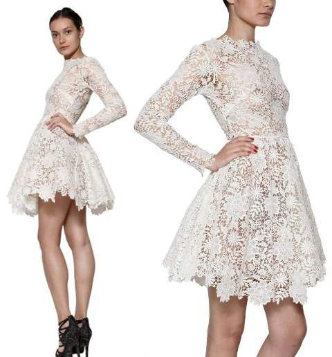 MARIA LUCIA HOHAN LONG SLEEVES COTTON LACE DRESS