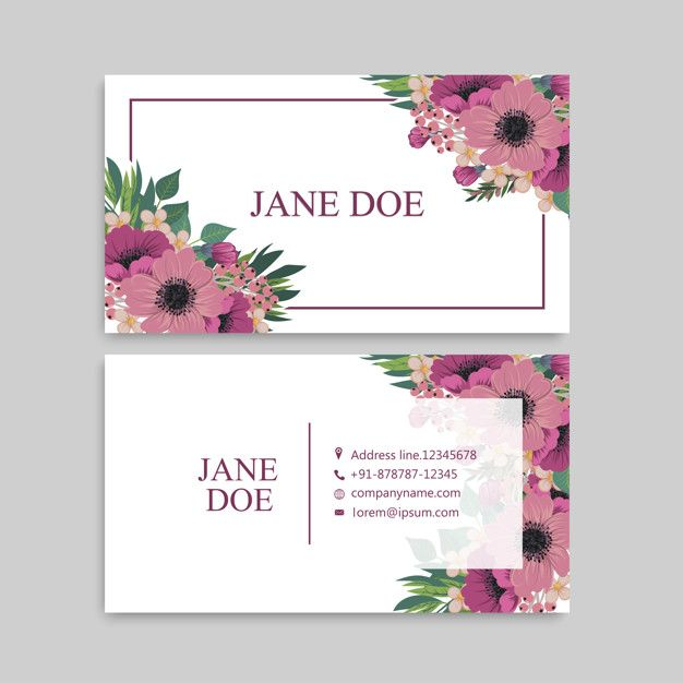 Cute Floral Pattern Business Card Name Card Design Template Free Vector Name Card Design Visiting Card Design Florist Business Card