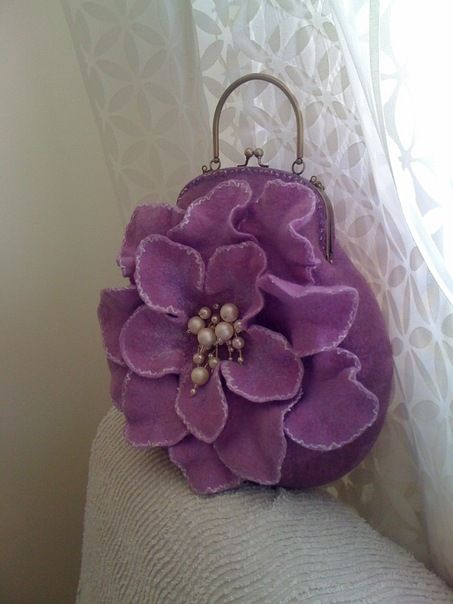 3D Felted Floral Design Bag