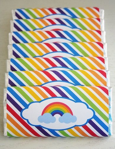 Chocolate Bar Wrappers - Rainbow Party / Party Favours - Candy Bar Wrapper - Personalised Chocolate Bar - by Sweet & Snazzy.  Feel free to visit us at www.facebook.com/sweetandsnazzy
