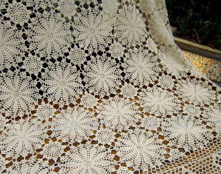 180x280 CM Vintage handmade crochet beige bedcover bedspread  ~ FREE SHIPPING