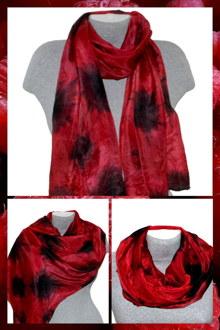 This elegant red and black hand painted silk scarf will help you to create a unique signature look. Beautiful red and black color combination turns this silk scarf into the One-of-a-Kind stylish gift.  The silk scarf is perfect for year round wear. It makes a great luxury gift for someone you love or someone who deserves to be spoiled. #accessories #scarf #red #birthday #valentinesday #silk  #silkscarf