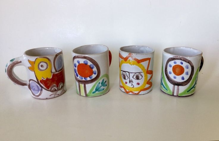 Vintage Mid Century Modern Desimone Italy Hand Painted Set Of 4 Mugs