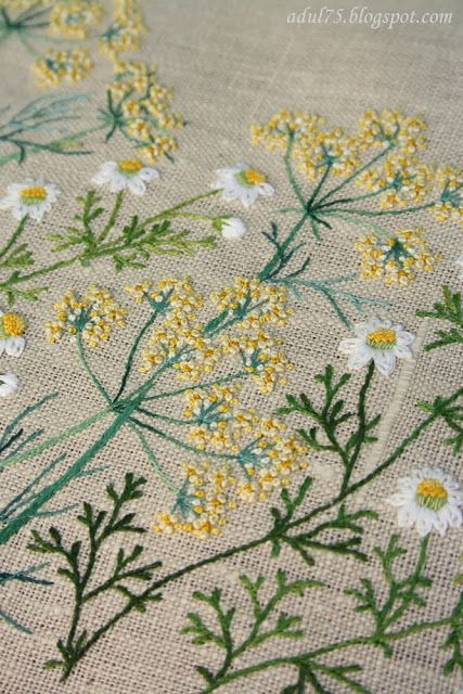 ✽  embroidery  -  herbs on linen