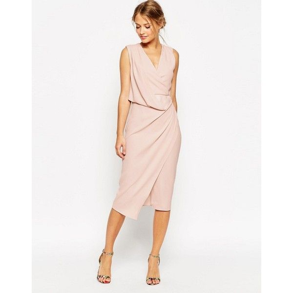 ASOS WEDDING Wrap Drape Midi Dress ($45) ❤ liked on Polyvore featuring dresses, red, wrap dress, v neck wrap dress, asos dresses, red v neck dress and red asymmetrical dress