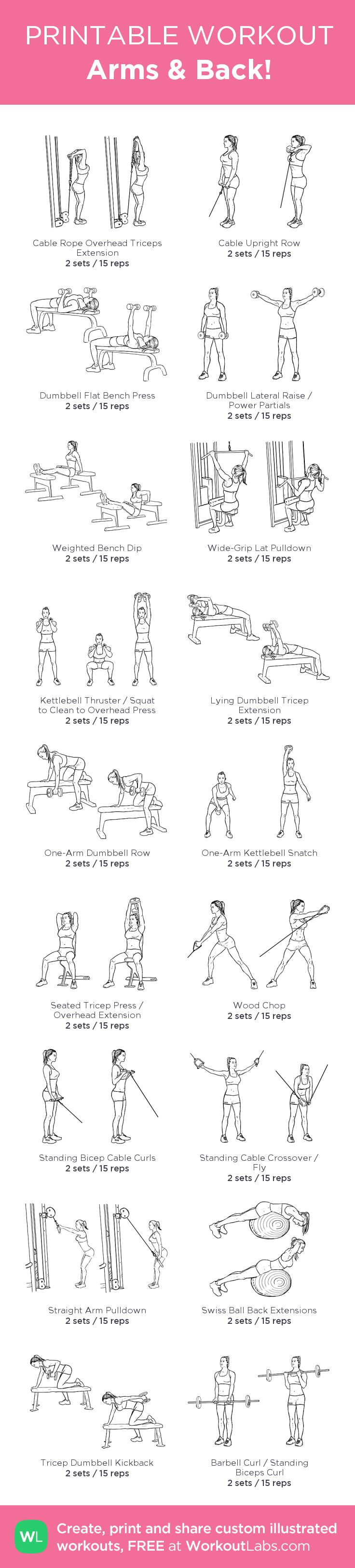 Arms & Back! – my custom workout created at WorkoutLabs.com • Click through to download as printable PDF! #customworkout