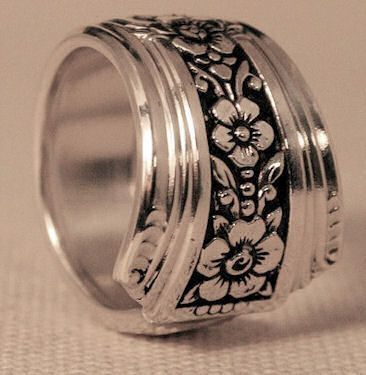 Stunning Fortune Silver Spoon Ring Vintage Silver Spoon Pattern Jewelry Available in Ring Sizes