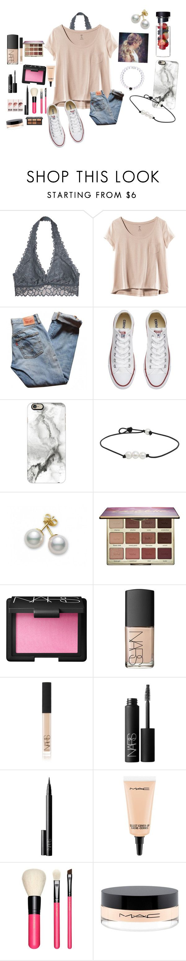 """""""Football game night """" by mckenna1 ❤ liked on Polyvore featuring Victoria's Secret, H&M, Levi's, Converse, Casetify, Mikimoto, tarte, NARS Cosmetics, MAC Cosmetics and Kat Von D"""