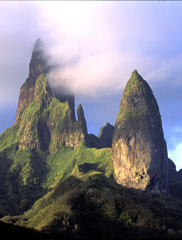 The mountain peaks of Ua Pou, Marquesas Islands, French Polynesia. Credit: P. Bacchet