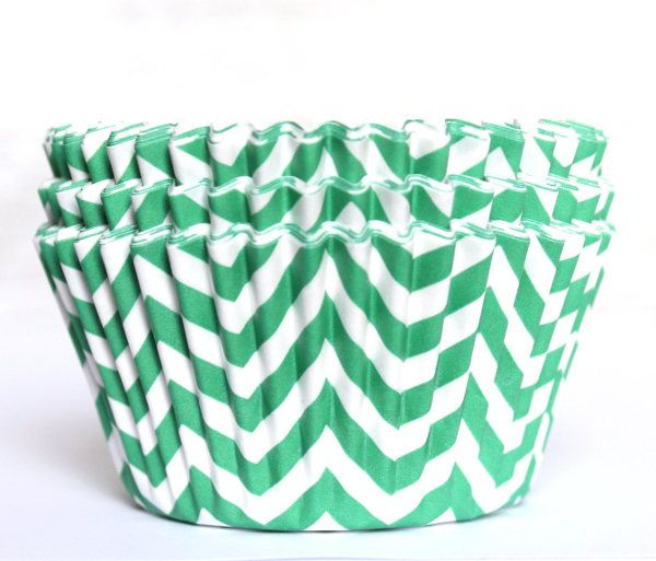 A personal favorite from my Etsy shop https://www.etsy.com/listing/562110204/green-chevron-cupcake-liners-set-of-25