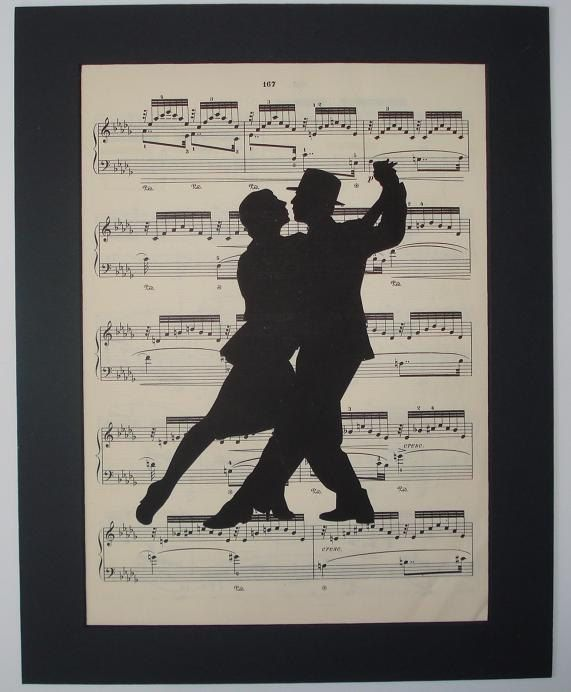 TANGO Silhouette sheet music art music book page print. $8,00, via Etsy.