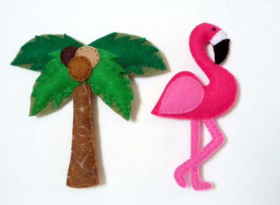 Pink Flamingo and Palm Tree felt refrigerator magnets, Summer Home decor, Summer Kitchen decor,Flamingo party favor,Mother's day gift