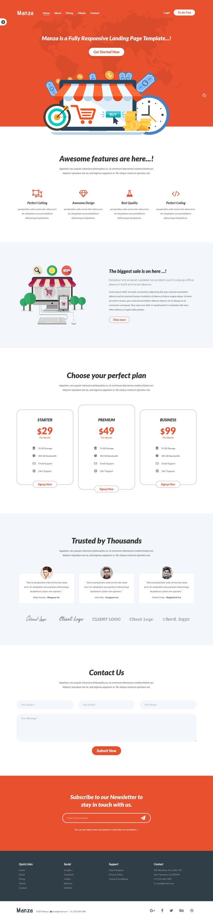 Manza - Responsive Bootstrap Landing Page Template. Live Preview & Download: https://themeforest.net/item/manza-responsive-bootstrap-landing-page-template/16767493?ref=ksioks