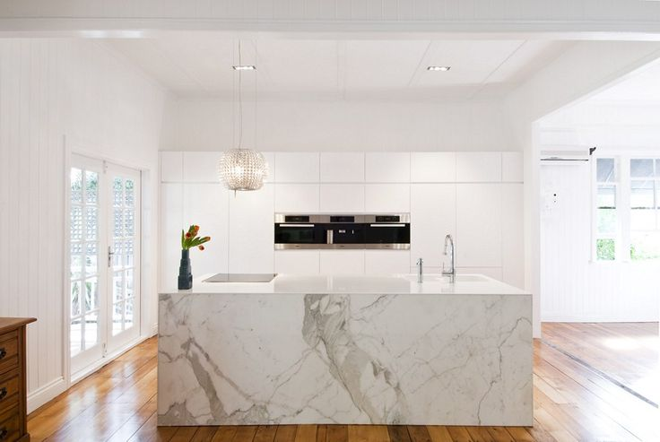 marble island bench, white kitchen, miele appliances,  interiors by darren james