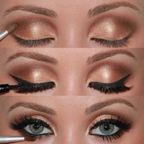 gold eye makeup: Pretty Eye, Cat Eye, Eye Makeup, Eye Shadows, Blue Eye, Eyeshadows, Eyemakeup, Smokey Eye, Gold Eyes