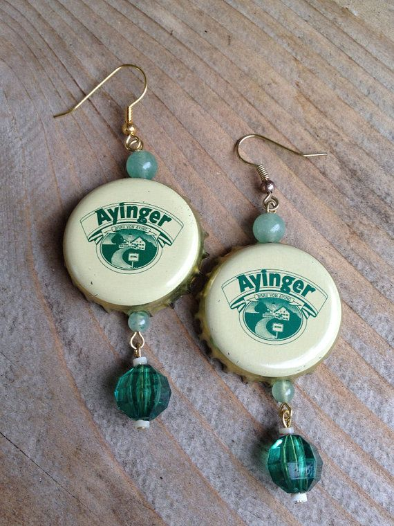 Vintage Ayinger Bottle Cap Earrings  Ready for by TinyMayor, $10.00