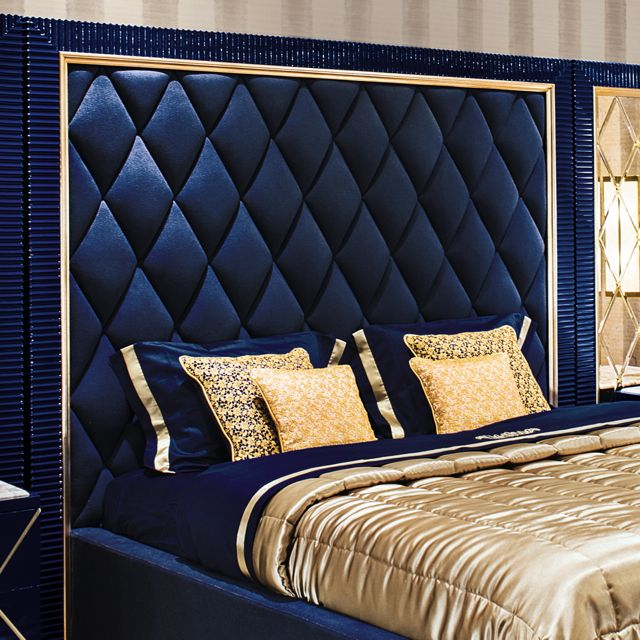 High end modern glamour vibrant blue ottoman storage bed