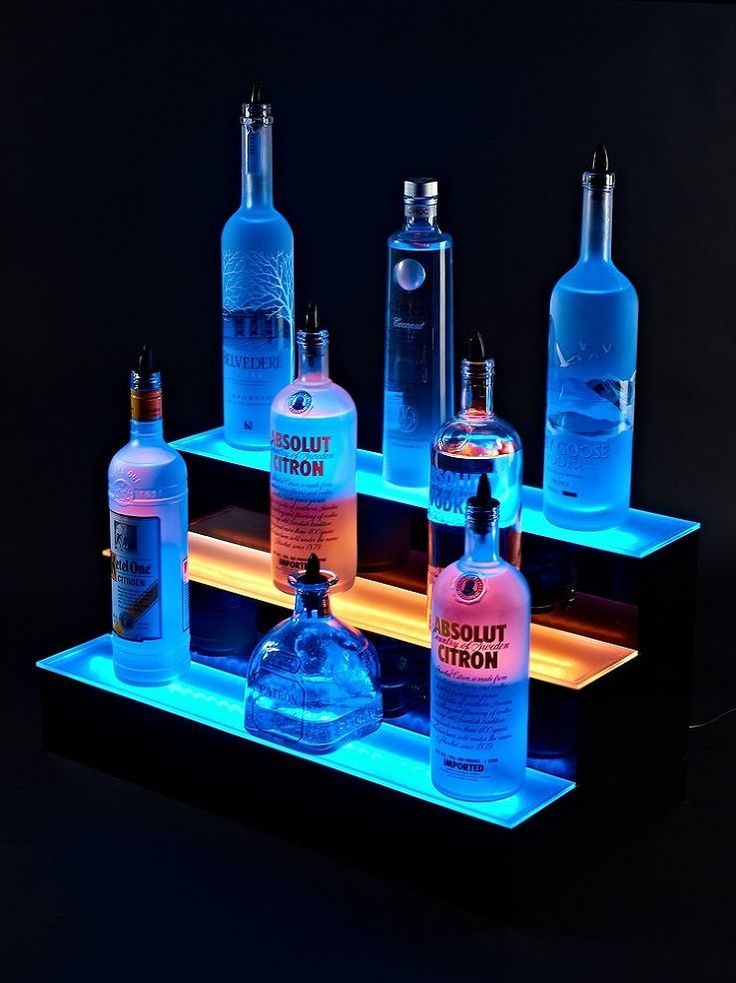Armana Acrylic Wall Mount 51 LED Lighted Bottle Shelf 4 3 LIquor Shelf