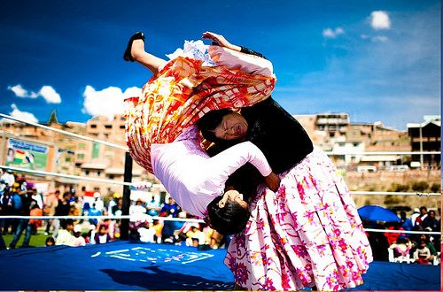 No Headgears No Shoes No Singlets! These Women Wrestle in Frilly Skirts