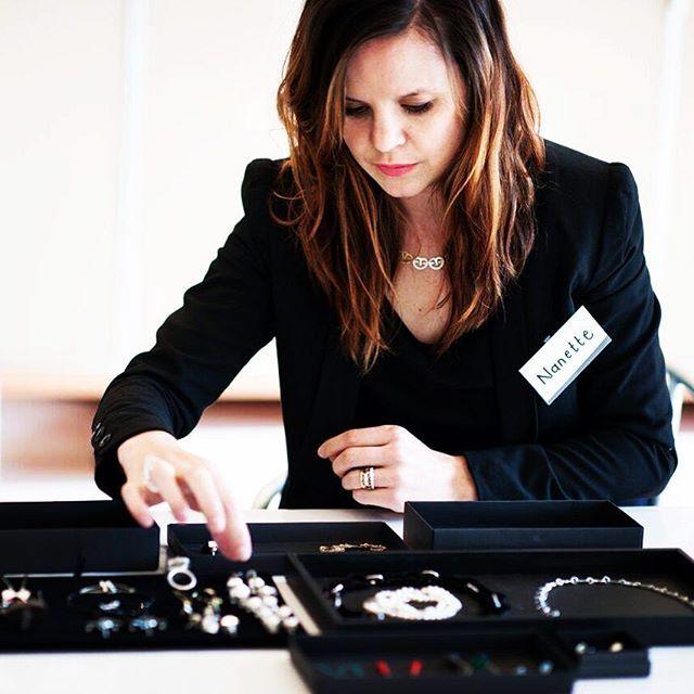 In action- Nanette Veldsman preparing her jewels for a shoot @lisabrownschool #jewellerydesigner #jewellerydesign #jewelrydesign #lovemyjob #jewellery #jewelry #designer