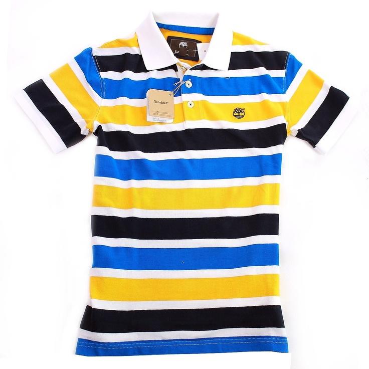 Timberland Pique Polo Shirt SS Stripey Top T Shirt £29.95