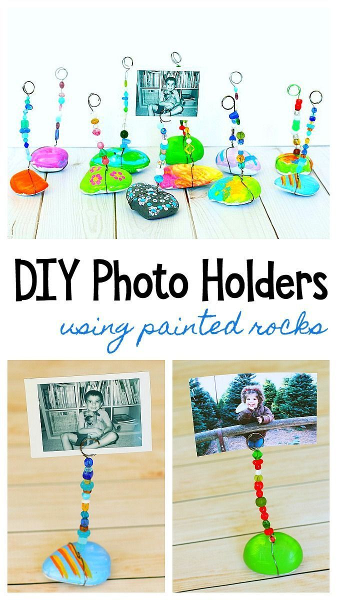 Painted Rock Photo Holder Craft for Kids: Paint stones or stones and