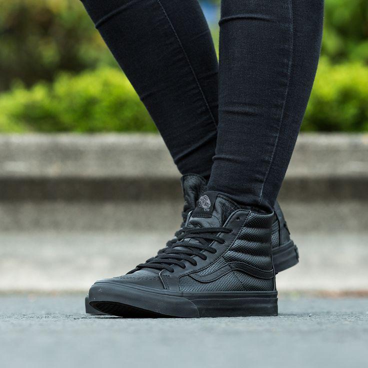 The Vans Womens SK8-Hi Slim Zip Trainer in black.
