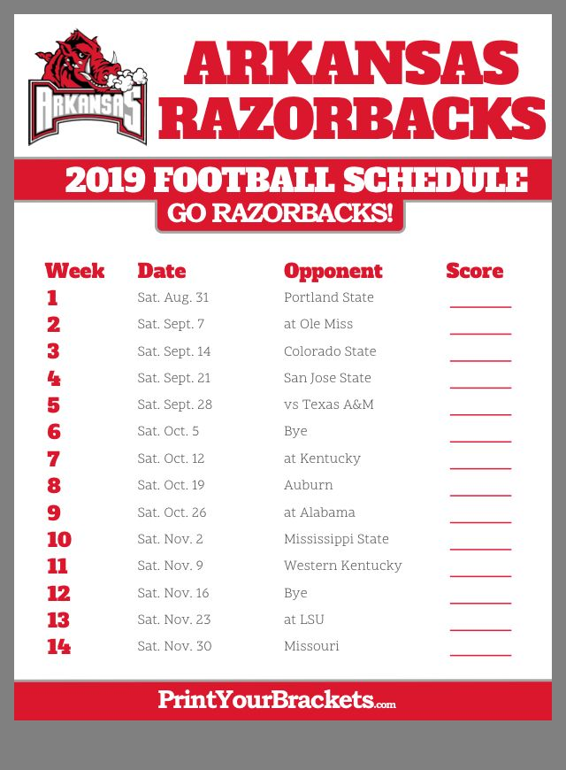 Pin By Regina Welch On Razorbacks Arkansas Razorbacks Football College Football Schedule Arkansas Razorbacks