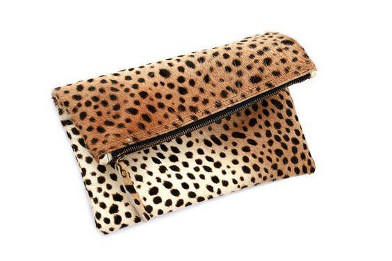 Leopard fold over clutch, Leopard Clutch, Leather leopard clutch, Lepoard clutch