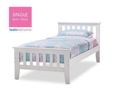 Avana Brand New Timber Single Bed Frame - WHITE - Kids, Boy, Girl in Home & Garden, Furniture, Children's Furniture | eBay