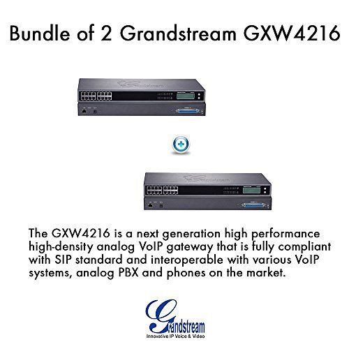 Grandstream GXW4216 16 Ports FXS Analog PBX VoIP Gateway, Bundle of 2. The GXW4216 is a next generation high performance high-density analog VoIP gateway that is fully compliant with SIP standard and interoperable with various VoIP systems, analog PBX and phones on the market. # of FXS Ports: 16. Voice Codec Support: G.711 u/a law, G.723, G.726, G.729 a/b, iLBC. 16 telephone FXS ports with both RJ11 and 50-pin Telco connectors, as well as per port LED. Automated provisioning using TR-069…
