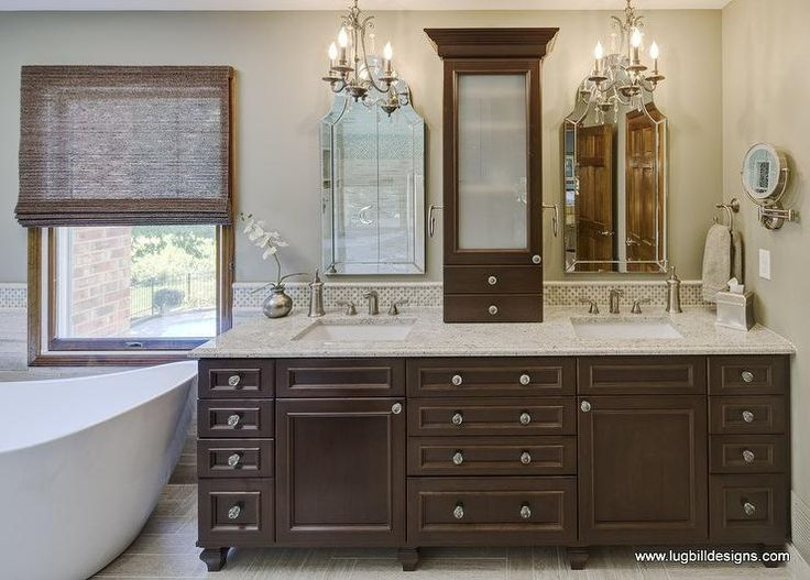 lugbill designs divine bathroom design with light beige walls featuring a custom walnut double vanity