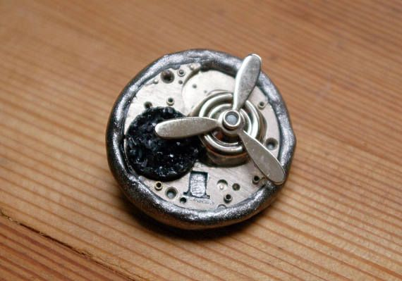 Recycled Watch Plate Brooch Pin with Propellor Gunmetal