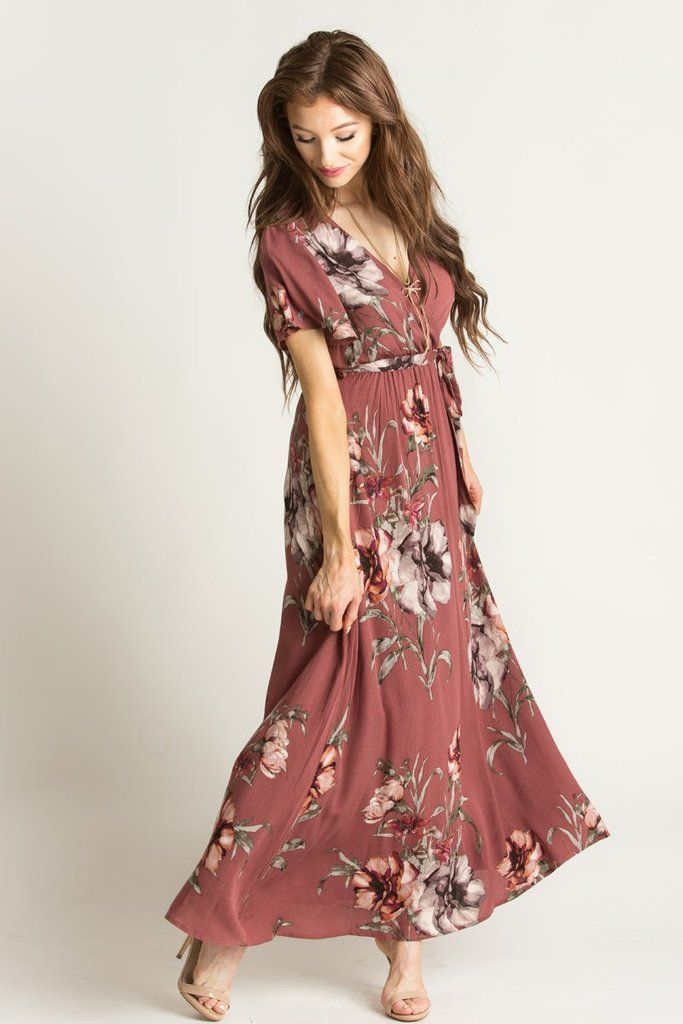 Our best selling Bethany Floral Maxi Dress now comes in this gorgeous shade of dark rose! We love this color...