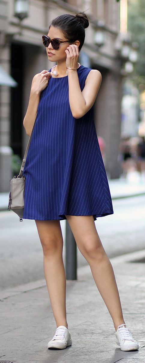 Pinstriped Shift Dress by Fake Leather