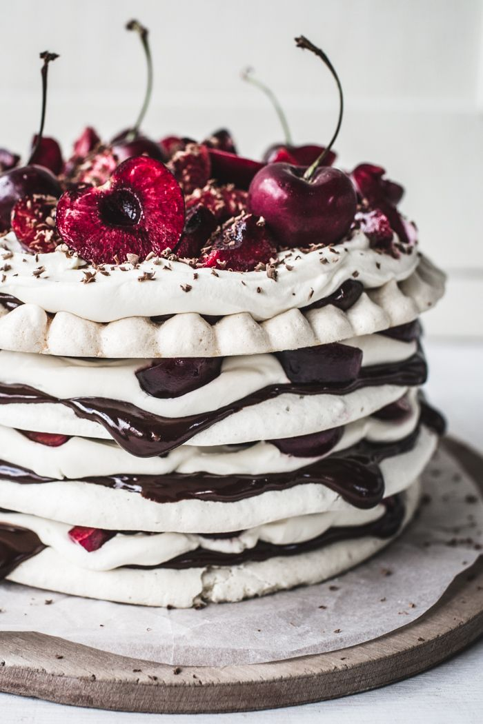 chocolate & cherry meringue cake