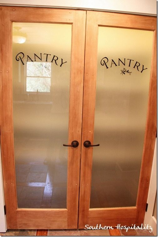 These frosted pantry doors would add so much customization to our tiny kitchen.
