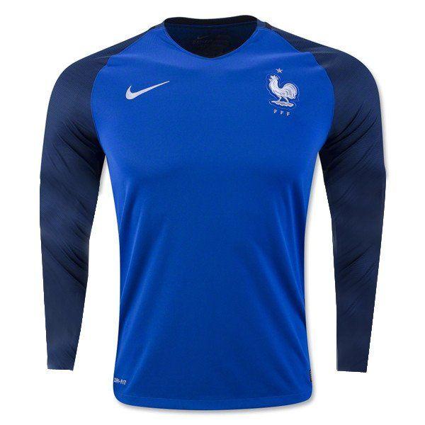 France Euro 2016 Home Men Long Sleeve Soccer Jersey - zorrojersey